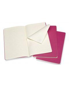 Moleskine Notizbuch A5 Liniert, Pink, 3-teilig