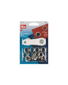 Prym Ösen + Scheiben 11 mm Silber, 15 Stück