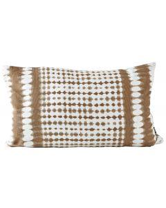 Villa Collection Kissen aus Baumwolle, 30 x 50 cm, Braun/Weiss