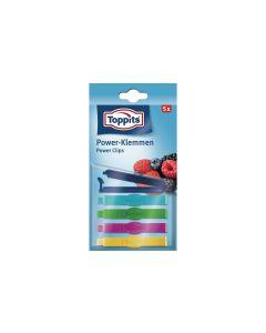 Toppits Verschlussclips 5 Stück, Mehrfarbig