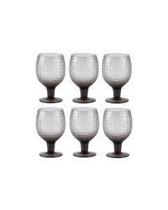 Villa Collection Rotweinglas Grooved 400 ml, 6 Stück, Grau