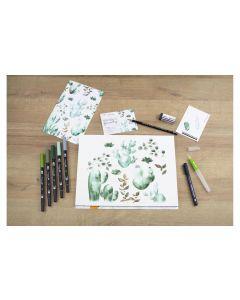 Tombow Fasermaler Watercolor Set Greenery Grün