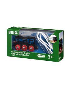 BRIO Eisenbahn Schwarze Akku-Lok mit Mini-USB