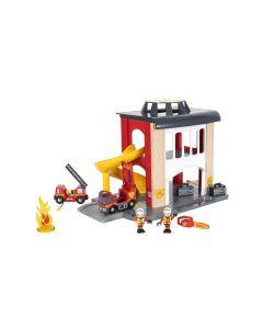 BRIO Eisenbahn Grosse Feuerwehr-Station mit Einsatzfahrzeug